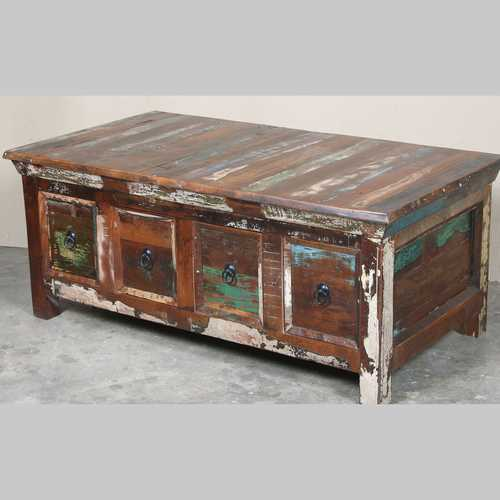 k64-60126 indian furniture large reclaimed coffee table with drawers box drawers