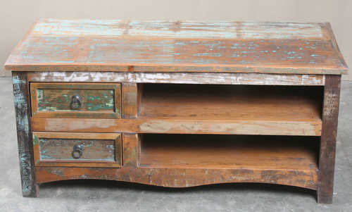 k64-60127 indian furniture reclaimed tv unit with drawers distressed paintwork
