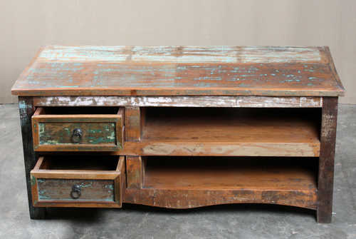k64-60127 indian furniture reclaimed tv unit with drawers distressed