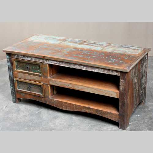 k64-60127 indian furniture reclaimed tv unit with drawers large shelves