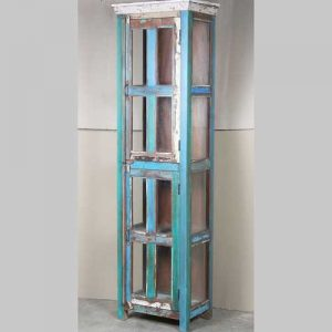 k64-60128 indian furniture reclaimed glass display cabinet blue tall slim thick hardwood top