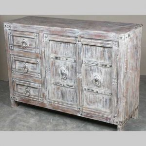 k64-60130 indian furniture whitewash sideboard with drawers and cupboard white floral details