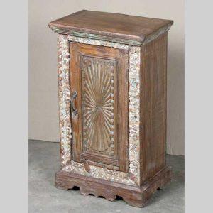 k64-60133 indian furniture small sunburst cabinet with framed carving decorative base white