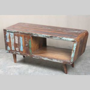 k64-60135 indian furniture unusual reclaimed tv unit curved edge fifties retro style
