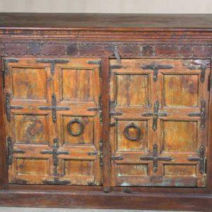 k64-60136 indian furniture old door sideboard chunky robust orange ring handles