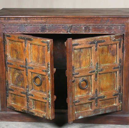 k64-60136 indian furniture old door sideboard chunky robust orange original metal work