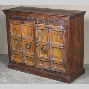 k64-60136 indian furniture old door sideboard chunky robust orange thick hardwood