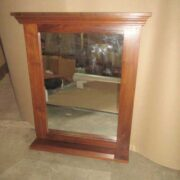 k64-60151 indian furniture simple teak mirror with shelf natural wood grain