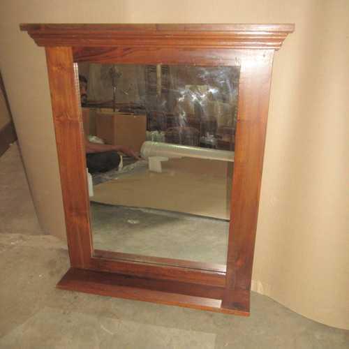 k64-60151 indian furniture simple teak mirror with shelf natural wood grain