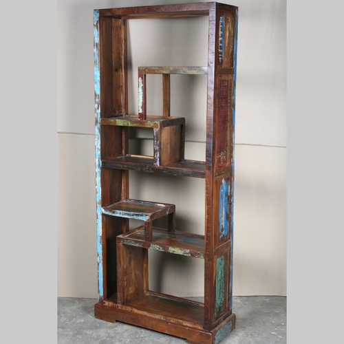 k64-60155 indian furniture unusual reclaimed bookcase display unit salvaged wood