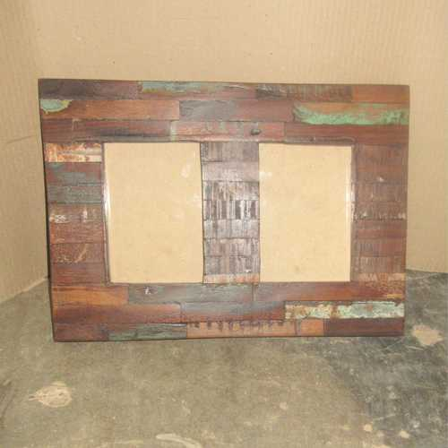 k64-60273 indian furniture double reclaimed photo frame block distressed rustic