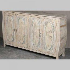 k64-60369 indian furniture sideboard large white shaped elegant panel doors