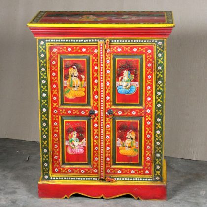 k64-60370 indian furniture cabinet hand painted small figures red green