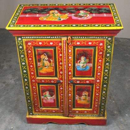 k64-60370 indian furniture cabinet hand painted small figures red classic figures