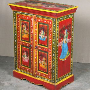k64-60370 indian furniture cabinet hand painted small figures red blue dress