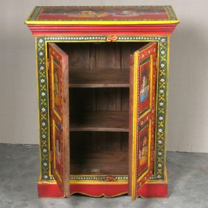 k64-60370 indian furniture cabinet hand painted small figures red floral borders