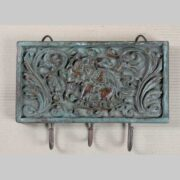 k64-60382 indian gift 3 hooks wall hanging carved key hooks
