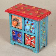 k64-60383 indian gift jewellery 4 drawer ceramic wooden hand painted floral flowers