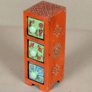 k64-60384 indian gift 3 drawers ceramic hand painted tall jewellery