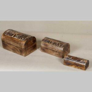 k64-60393 indian gift box domed mango carved elephant jewellery wood grain