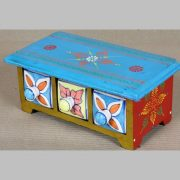 k64-60396 indian gift jewellery wooden ceramic drawers hand painted floral