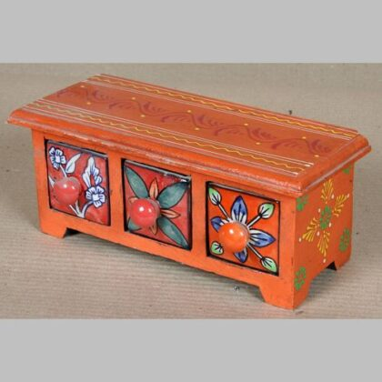 k64-60396 indian gift jewellery wooden ceramic drawers hand painted flowers