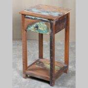 k64-60400 indian furniture side table small reclaimed drawer shelf hardwood
