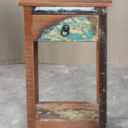 k64-60400 indian furniture side table small reclaimed drawer shelf rustic charm