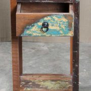 k64-60400 indian furniture side table small reclaimed drawer shelf distressed blue
