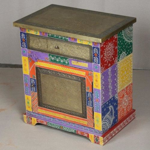 Attractive Multi Coloured Hand Painted, Hand Painted Indian Bedside Cabinet