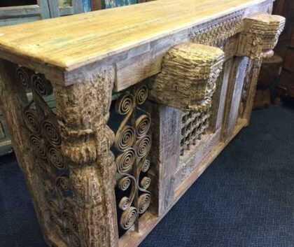 kh16-RS18-120 indian furniture console table iron inset original carvings close