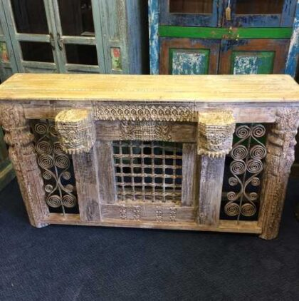 kh16-RS18-120 indian furniture console table iron inset original carvings front