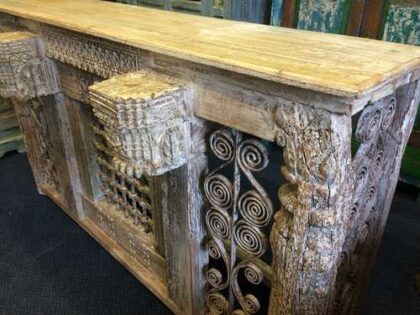 kh16-RS18-120 indian furniture console table iron inset original carvings angle right