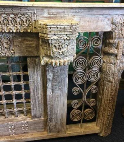 kh16-RS18-120 indian furniture console table iron inset original carvings close right railing