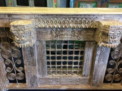 kh16-RS18-120 indian furniture console table iron inset original carvings close central railing