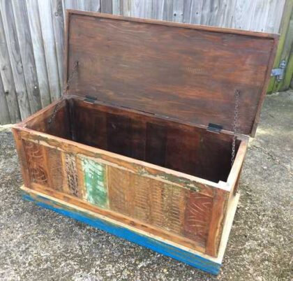kh16 RS18 51 indian furniture trunk reclaimed carved blue open