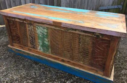 kh16 RS18 51 indian furniture trunk reclaimed carved blue top