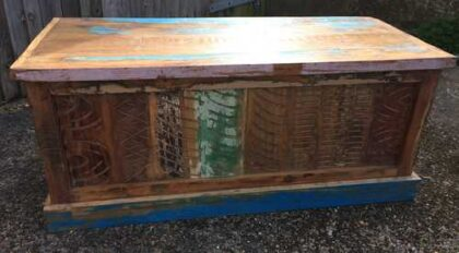 kh16 RS18 51 indian furniture trunk reclaimed carved blue front