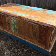 kh16 RS18 51 indian furniture trunk reclaimed carved blue corner