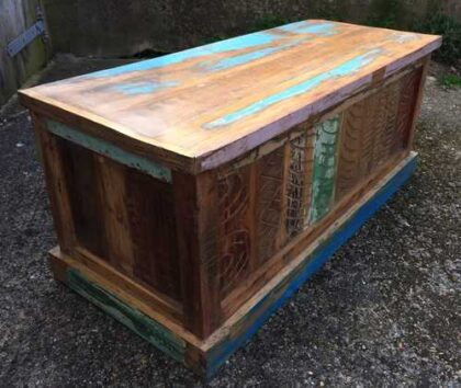 kh16 RS18 51 indian furniture trunk reclaimed carved blue angle