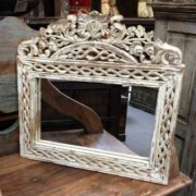 KH16-RS18-15 indian furniture mirror elegant white front