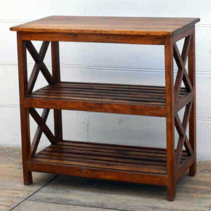 kh17-RS2019-80-A indian furniutre old teak shelving cross sides angle