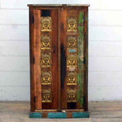 kh17 RS2019 90 indian furniture cabinet 10 buddha embossed front