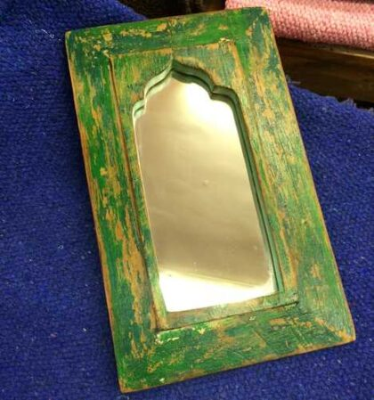 kh11-RS-23 indian mihrab mirror small green