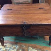 kh17-RS2019-26-a indian furniture old teak table low lid top