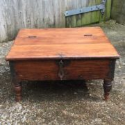 kh17-RS2019-26-a indian furniture old teak table low lid front