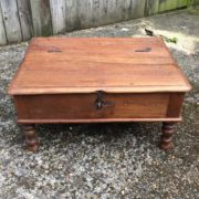 kh17-RS2019-26-b indian furniture old teak table low lid top