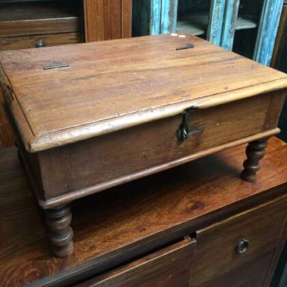 kh17-RS2019-26-b indian furniture old teak table low lid feature
