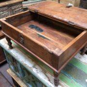 kh17-RS2019-26-c indian furniture old teak table low lid open