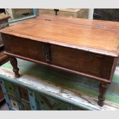 kh17-RS2019-26-c indian furniture old teak table low lid front